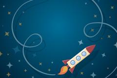 卡通火箭和轨迹矢量素材
