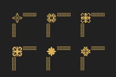 9款金色边角花纹矢量素材