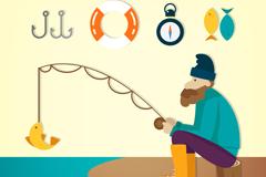 创意钓鱼的男子矢量素材