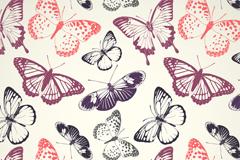 7种彩色缤纷蝴蝶无缝背景矢量图