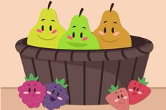 可爱水果和水果篮子矢量图