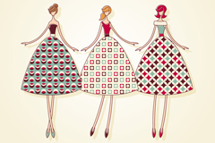 3款复古裙装女子矢量素材
