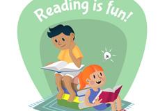 卡通读书的男孩和女孩矢量图