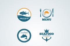 6款海鲜食品标签矢量图