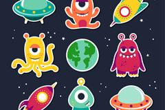 9款卡通外星人和飞碟矢量图