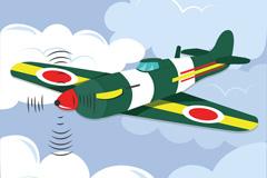 空中的彩色战斗飞机矢量素材