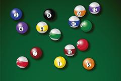 台球桌上的彩色台球矢量素材