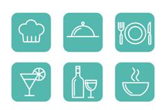 9款方形餐饮图标矢量素材