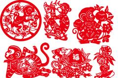 9款红色猴年剪纸矢量素材