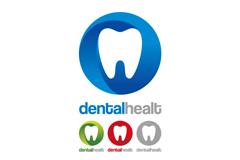 圆形牙齿护理标志矢量素材