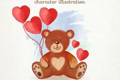 玩偶熊和爱心气球矢量图