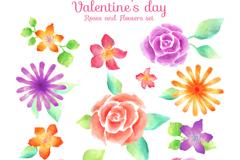 12款水彩绘情人节花卉矢量图