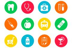 16款彩色圆形医疗图标矢量图