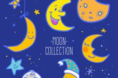 6款卡通月亮矢量素材