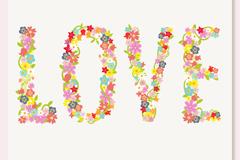 卡通花卉爱的艺术字矢量图
