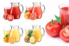 4种水果和果汁高清图片素材
