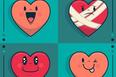 4款可爱表情爱心元素矢量素材