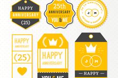 6款黄色25周年吊牌矢量图