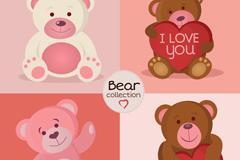 4款可爱卡通泰迪熊矢量素材