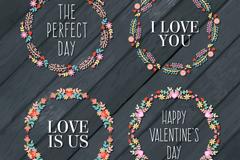 4款创意情人节花环矢量图