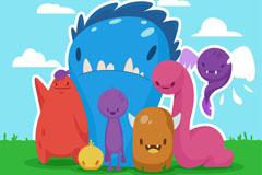 7个可爱卡通怪兽矢量素材
