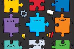 9款彩色卡通拼图块设计矢量图