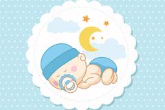 可爱婴儿标签贺卡矢量素材