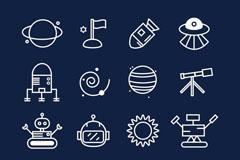 16款太空探索图标矢量图