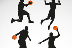 4款篮球男子剪影矢量图