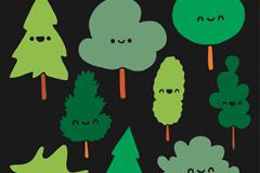 9款卡通表情树木设计矢量素材