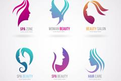6款女子头像美容院标志矢量图
