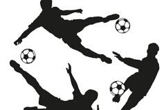 3款足球运动员剪影矢量图