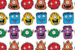 可爱卡通怪兽无缝背景矢量图