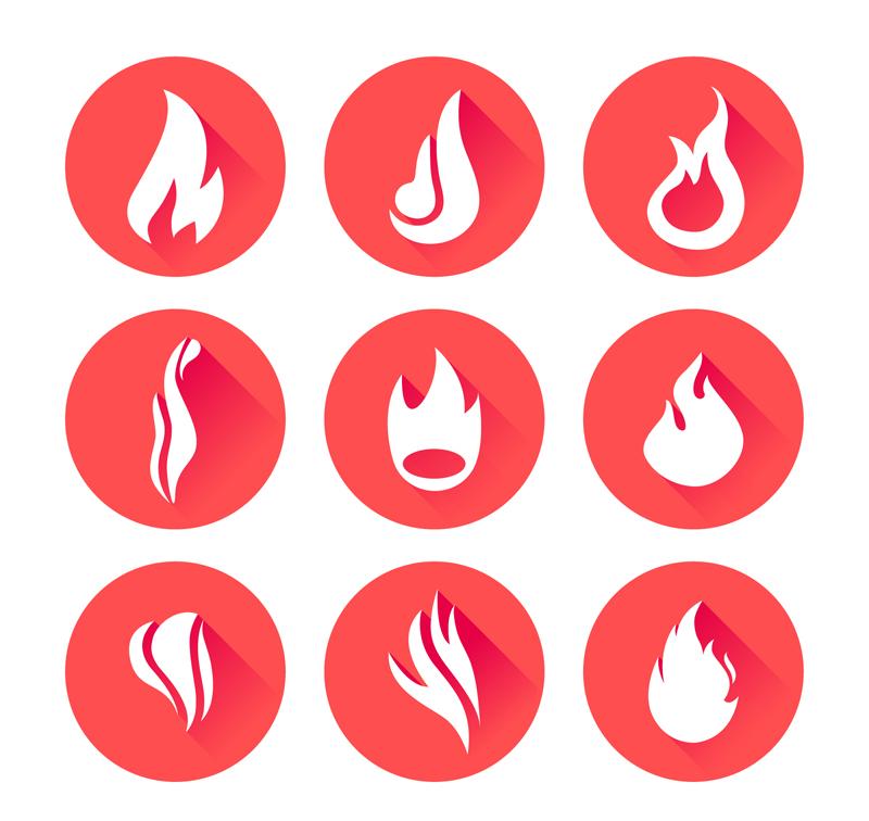 9款圆形火焰图标矢量素材图片