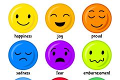 9款彩色圆脸表情矢量素材