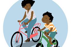 骑单车的母子矢量素材