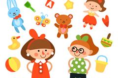 13款可爱玩具和女孩矢量素材