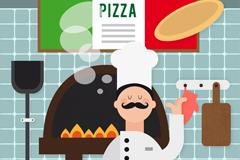 意大利厨师插画矢量素材