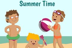3个夏日沙滩玩耍儿童矢量素材