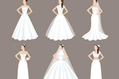 6款穿婚纱的新娘矢量素材