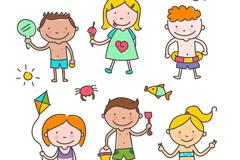 6款可爱玩耍儿童矢量图