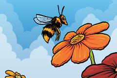 卡通采蜜的蜜蜂矢量素材