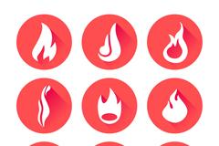 9款圆形火焰图标矢量素材