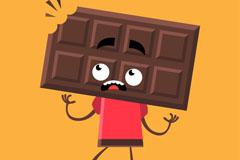 卡通被咬的巧克力人矢量素材