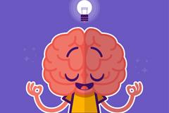 卡通打坐的大脑矢量素材