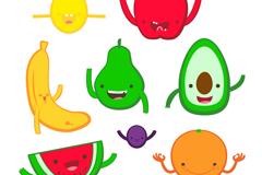 8款可爱卡通水果设计矢量素材