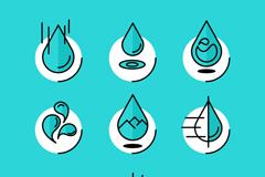 9款创意水滴图标矢量素材