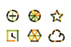 9款创意拼色图标矢量素材