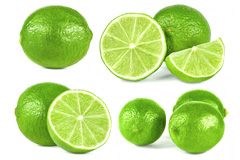 一组新鲜青柠檬高清图片下载
