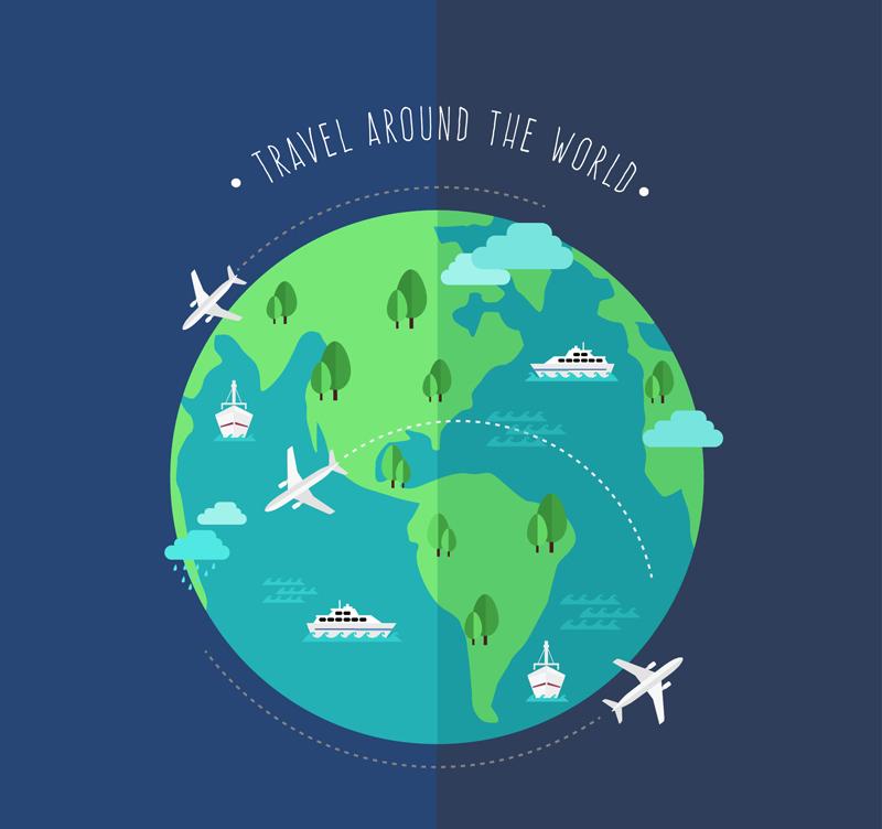 创意环球旅行地球插画矢量图图片